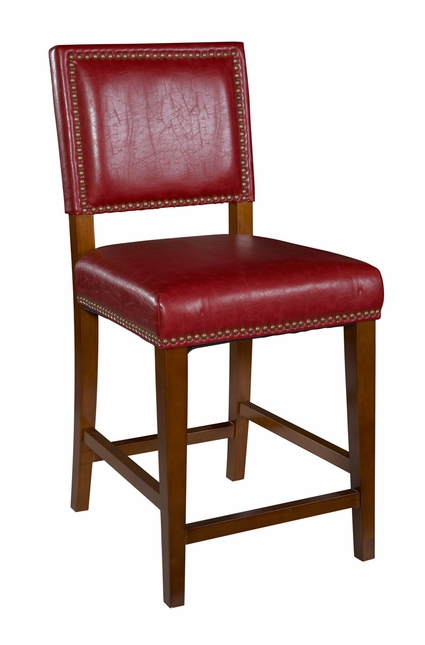 Brook Red Vinyl Cushioned Wood Bar Stool