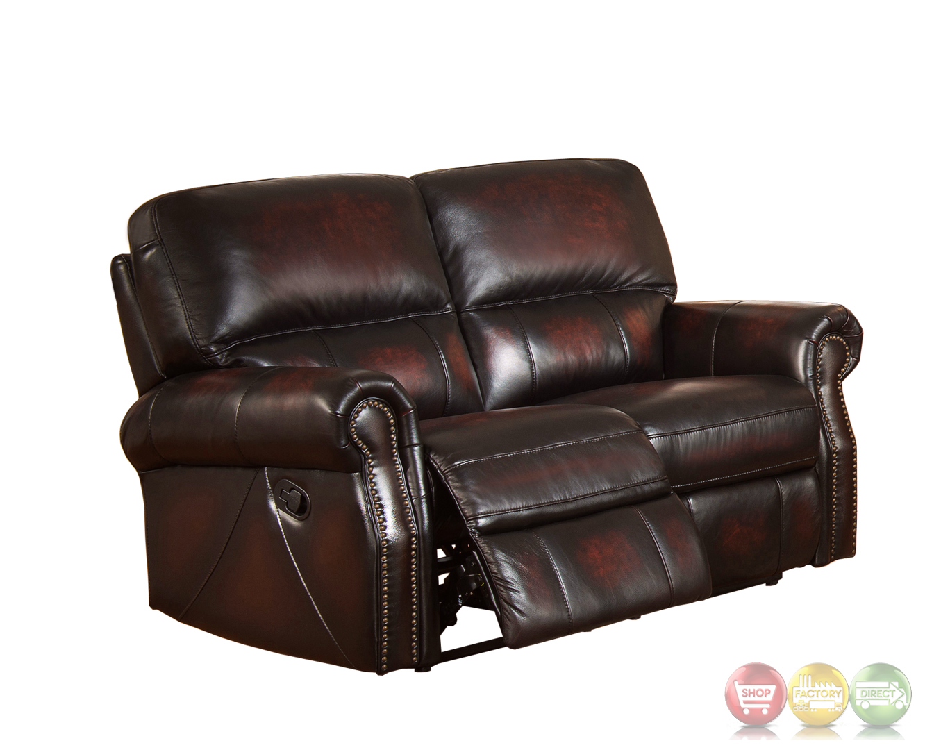 Brooklyn burgundy lay flat reclining loveseat in top grain leather Burgundy leather loveseat
