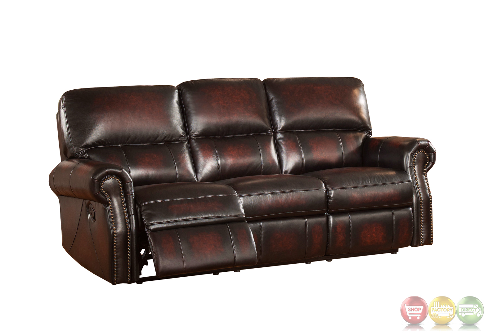 Brooklyn Burgundy Lay Flat Reclining 3pc Sofa Set In Top Grain Leather