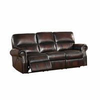 Brooklyn Burgundy Lay Flat  Reclining Sofa In Top Grain Leather