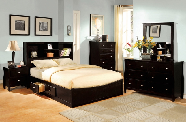 Brooklyn Espresso Platform Bedroom Set with Slat Kit CM7053