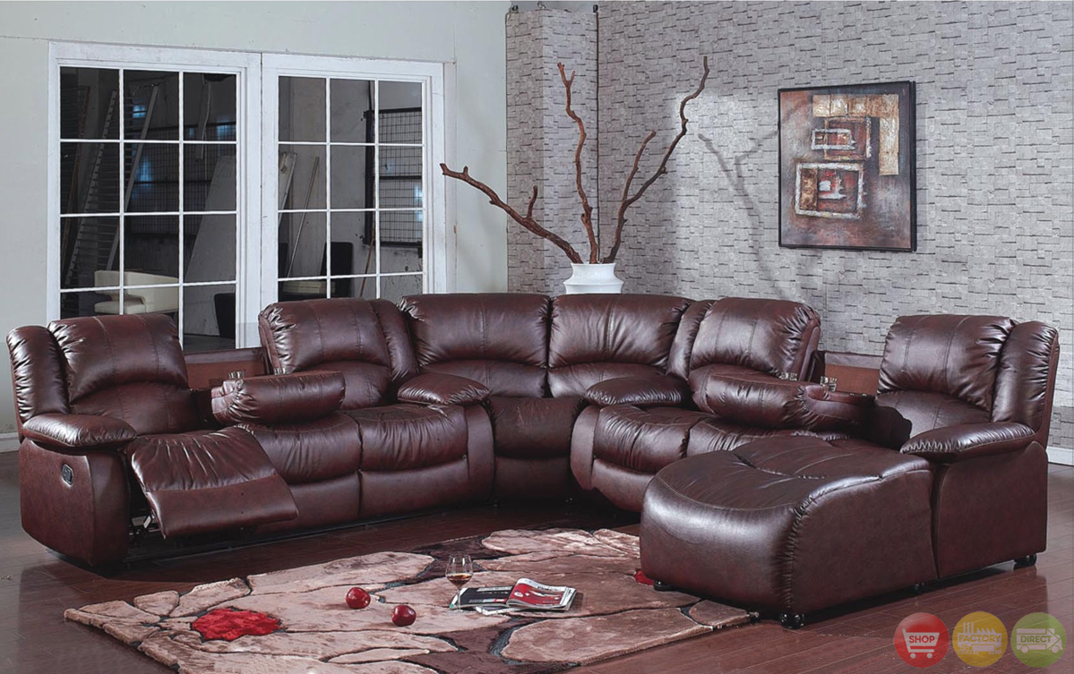 Brown bonded leather reclining sectional w chaise for Brown leather sectional with chaise