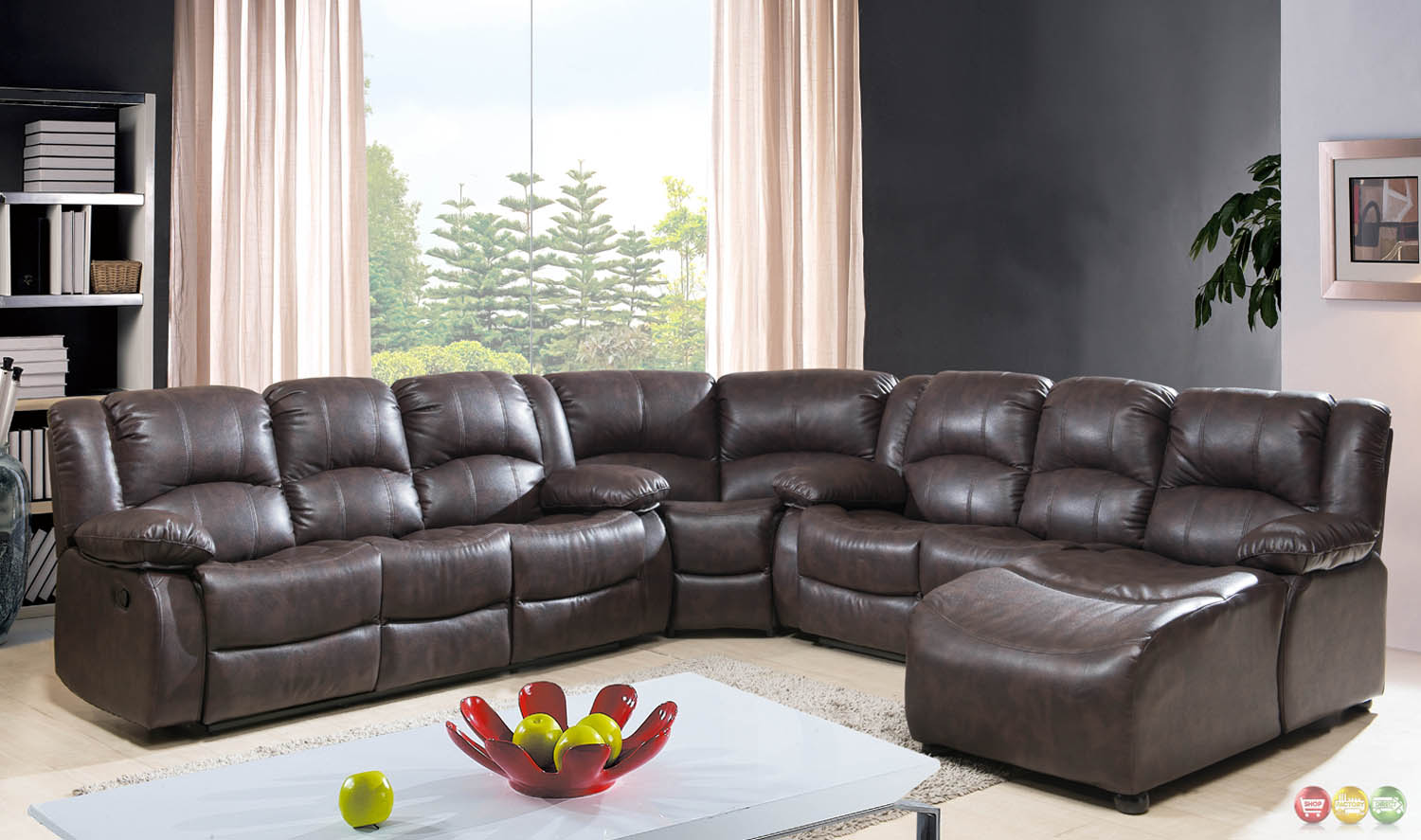 Brown bonded leather reclining sectional w chaise for Brown leather chaise