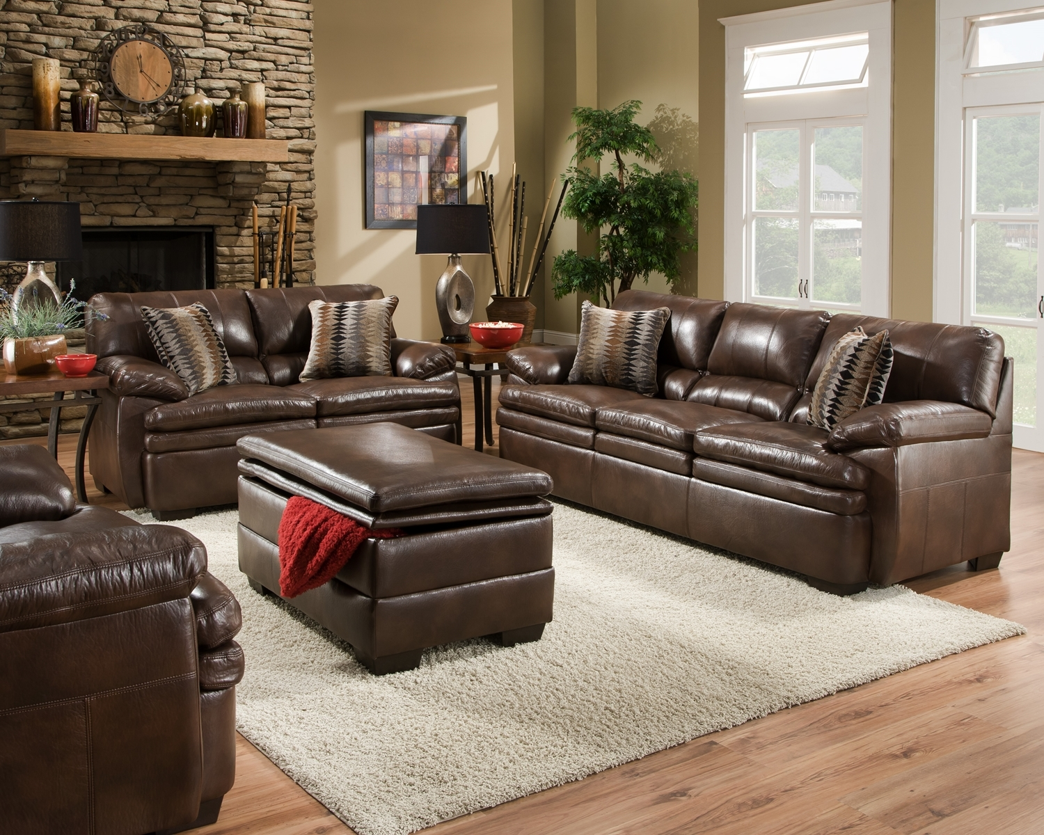 Brown bonded leather sofa set casual living room furniture w accent pillows ebay Living rooms with leather sofas