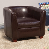 Brown Faux Leather Barrel Back Youth Accent Chair