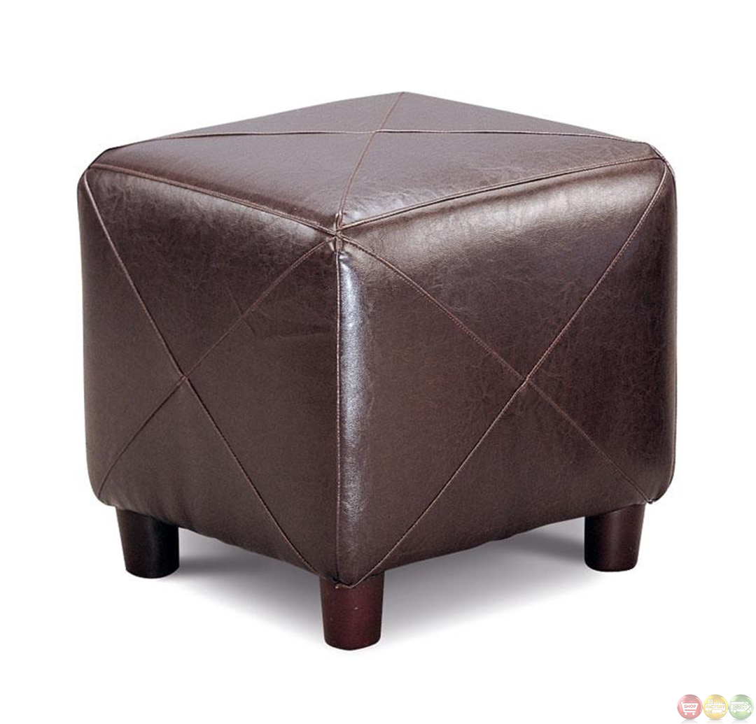 Brown faux leather upholstery contemporary cube ottoman for What is an ottoman for