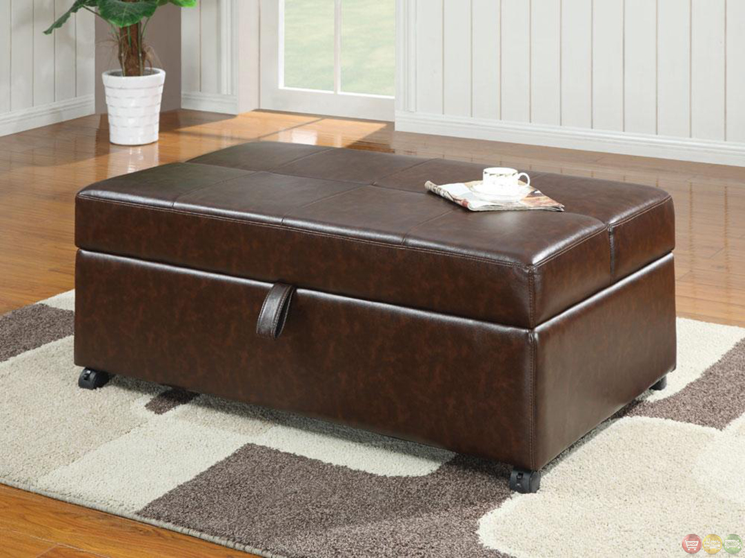 brown upholstered casual bench ottoman w pull out sleeper bed mattress ebay. Black Bedroom Furniture Sets. Home Design Ideas