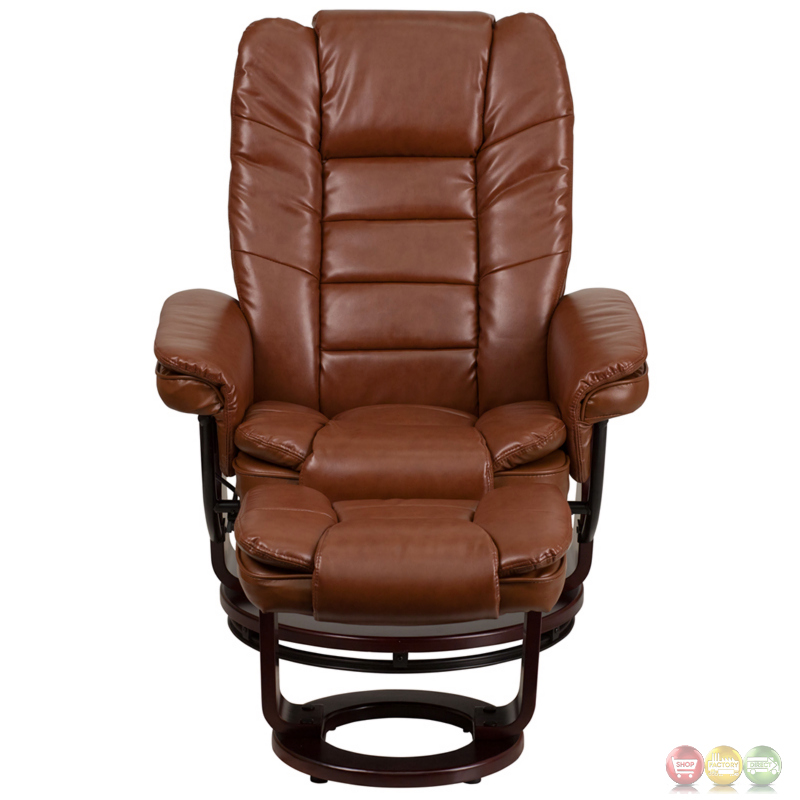 brown vintage leather recliner ottoman w swiveling mahogany wood base. Black Bedroom Furniture Sets. Home Design Ideas