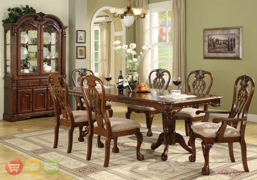 Brussels traditional dining room set 7 piece set for Elegant dining room furniture
