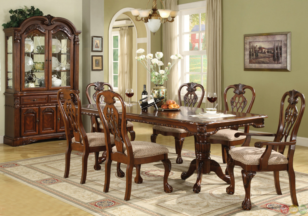 Brussels traditional dining room set 7 piece set for Dining room furniture