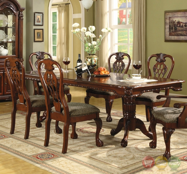 brussels traditional dining room set 7 piece set. Black Bedroom Furniture Sets. Home Design Ideas