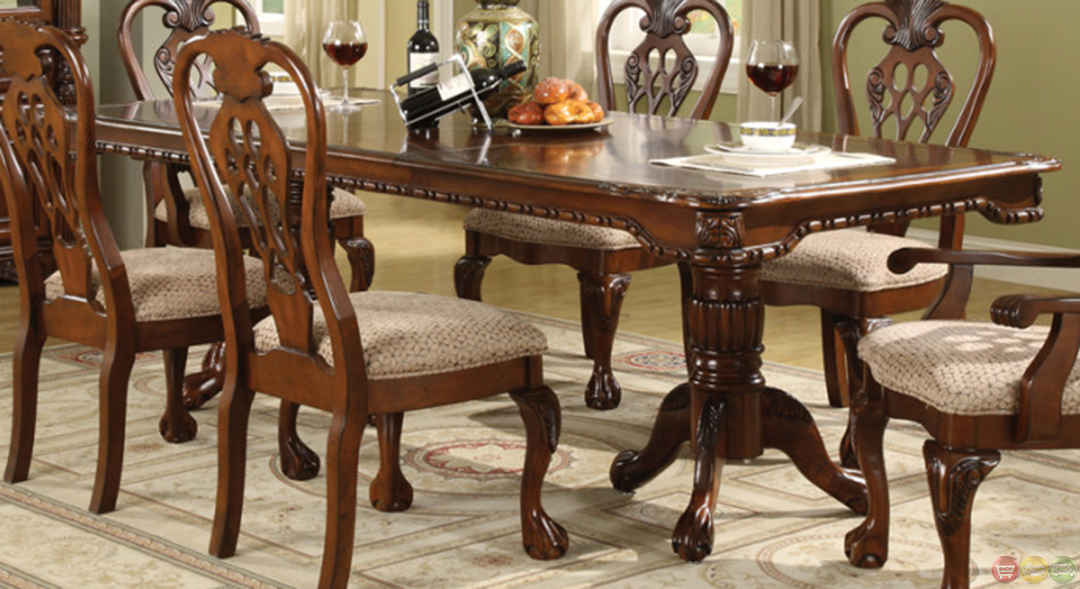 Brussels traditional dining room table and chairs 7 piece set for Traditional dining table and chairs
