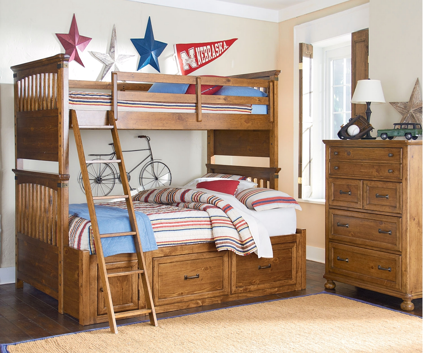 Bryce canyon heirloom pine twin over full bunk bed for Furniture of america pello full over full slatted bunk bed