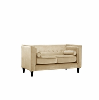 Brycen Contemporary Beige Velvet Loveseat with Button-Tufted Accents