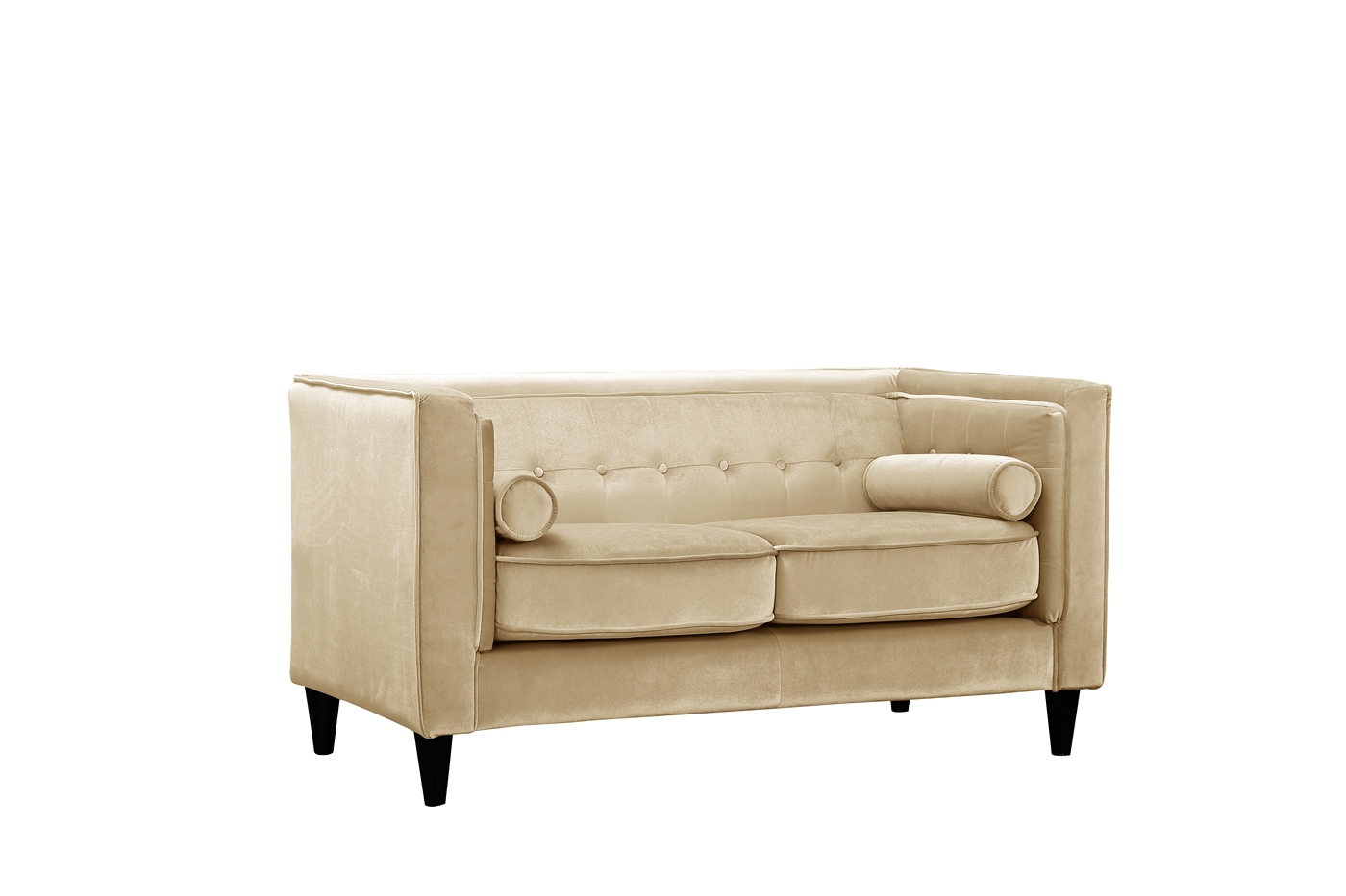 Brycen Contemporary Beige Velvet Loveseat With Button Tufted Accents