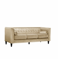 Brycen Contemporary Beige Velvet Sofa with Button-Tufted Accents