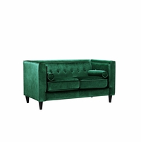 Brycen Contemporary Green Velvet Loveseat with Button-Tufted Accents