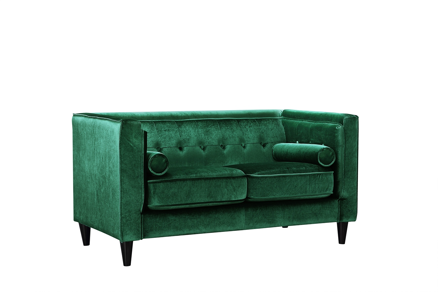 Brycen contemporary green velvet loveseat with button for Button tufted velvet chaise settee green