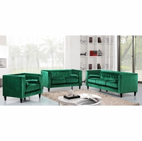Brycen Contemporary Green Velvet Sofa & Loveseat w/ Button-Tufted Accents