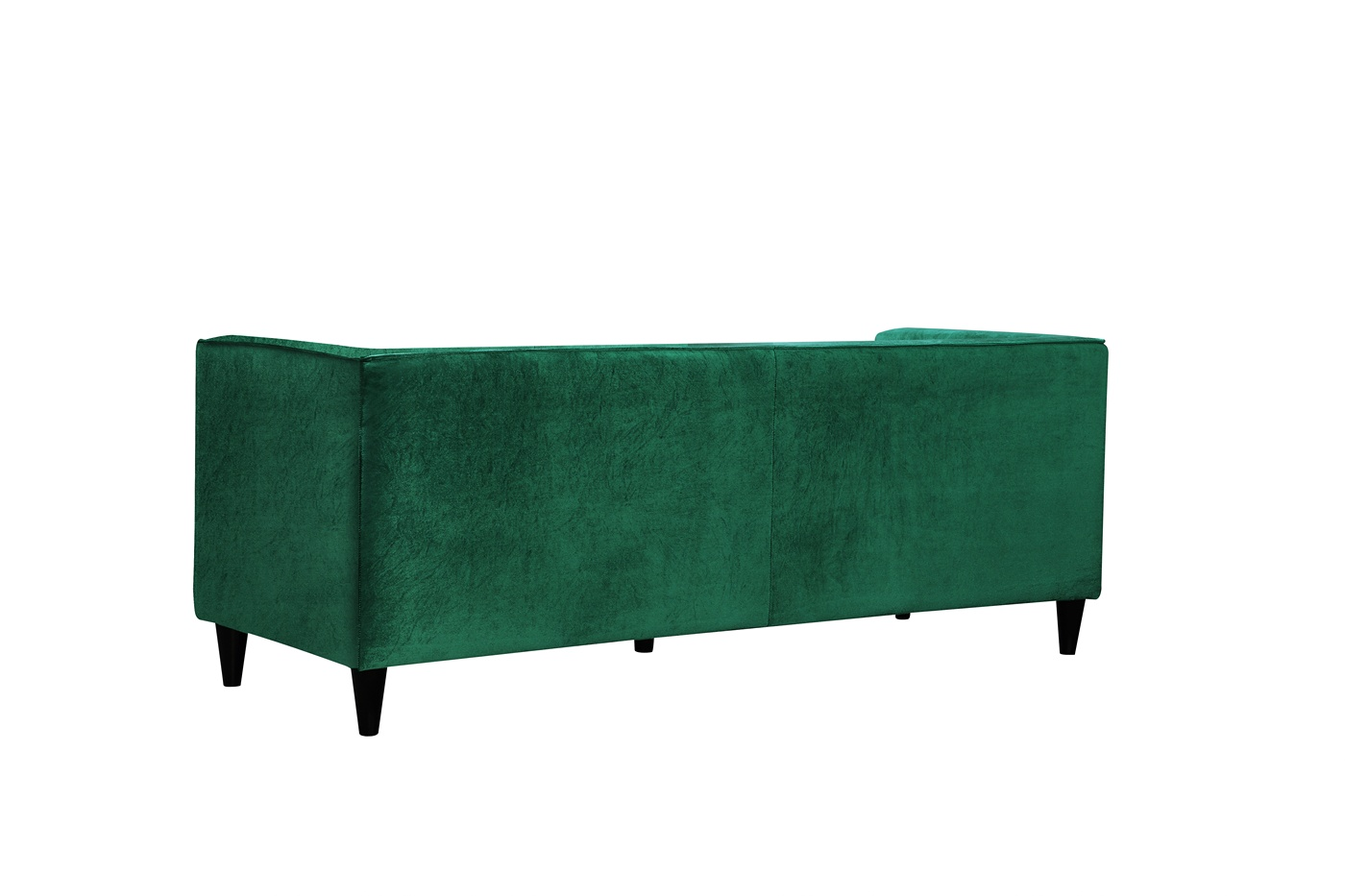 Brycen contemporary green velvet sofa loveseat w button for Button tufted velvet chaise settee green