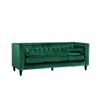 Brycen Contemporary Green Velvet Sofa with Button-Tufted Accents