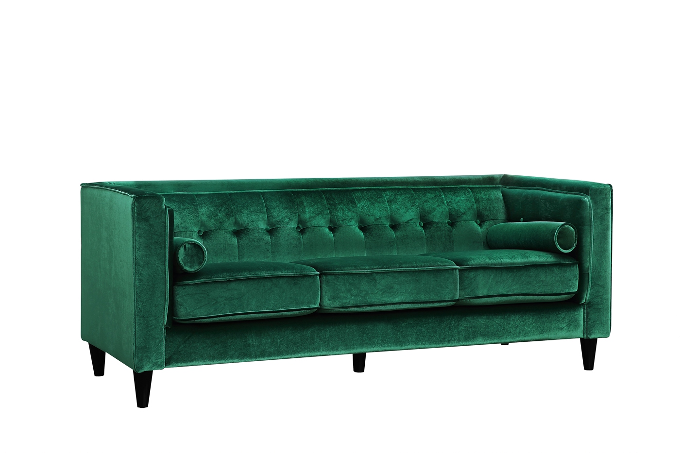 Brycen contemporary green velvet sofa with button tufted for Button tufted velvet chaise settee green