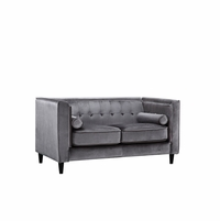Brycen Contemporary Grey Velvet Loveseat with Button-Tufted Accents
