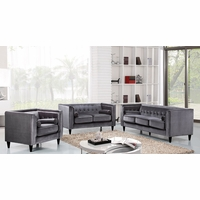 Brycen Contemporary Grey Velvet Sofa & Loveseat w/ Button-Tufted Accents