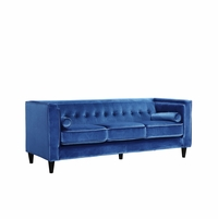 Brycen Contemporary Light Blue Velvet Sofa with Button-Tufted Accents