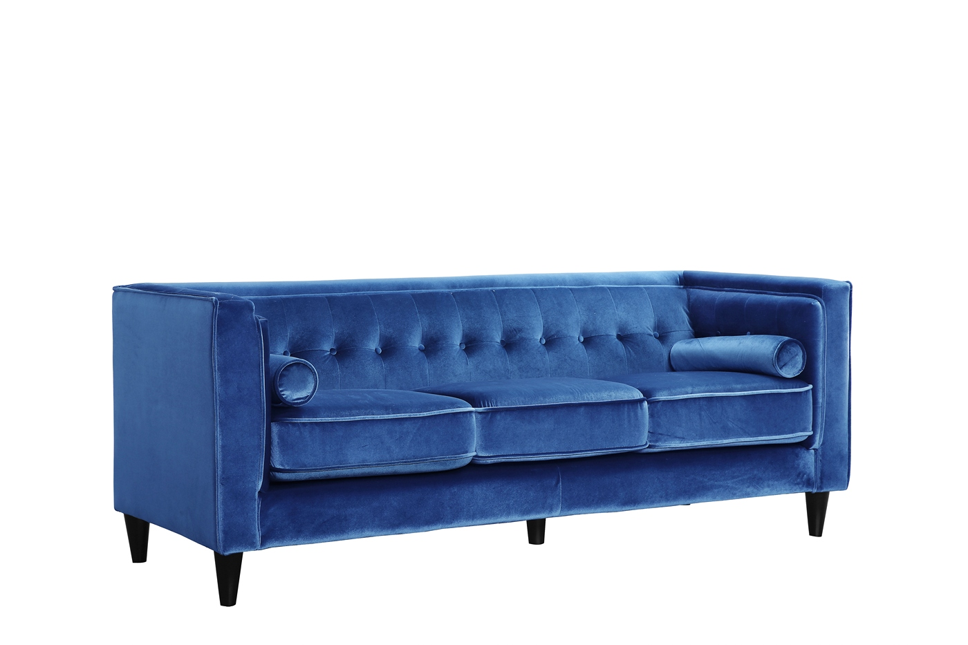 Brycen Modern Lt Blue Velvet Sofa Loveseat W Button