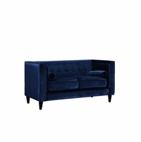 Brycen Contemporary Navy Velvet Loveseat with Button-Tufted Accents