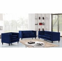 Brycen Contemporary Navy Velvet Sofa & Loveseat w/ Button-Tufted Accents