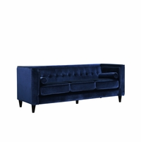 Brycen Contemporary Navy Velvet Sofa with Button-Tufted Accents