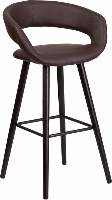Brynn 29'' High Contemporary Brown Vinyl Barstool W/ Cappuccino Wood Frame