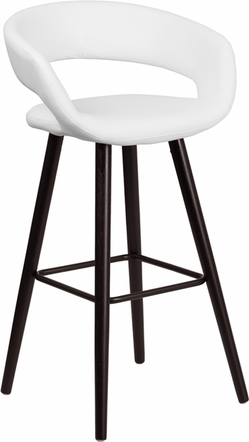 Brynn 29'' High Contemporary White Vinyl Barstool W/ Cappuccino Wood Frame