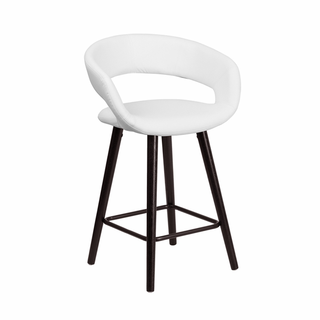 Brynn Contemporary White Vinyl Counter Height Stool W/ Cappuccino Wood Frame