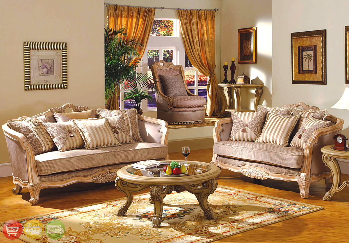 Buckingham traditional whitewash exposed wood living room set - Living room furniture traditional ...