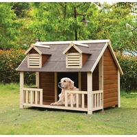 Buddy Country Cottage Jumbo Wooden Dog House w/ Porch in Cream & Oak Finish