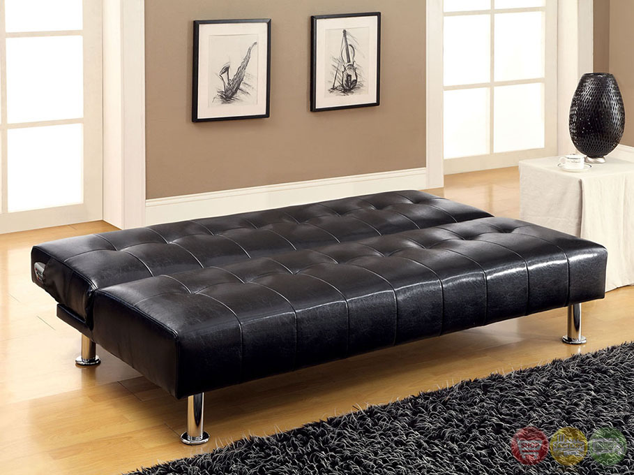 Bulle Contemporary Black Futon Sofabed With Leatherette Or