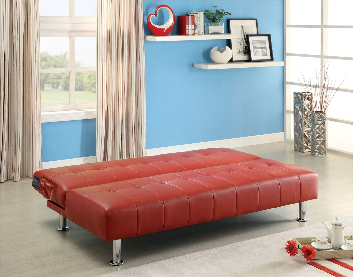 Details about Maya Tufted Red Leatherette Futon Sofabed with Chrome Finish