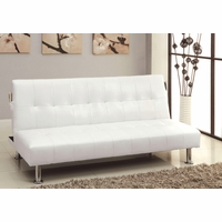 bulle contemporary white futon sofabed with leatherette or camouflage fabric futon couch   futon sofa beds   shop factory direct  rh   shopfactorydirect
