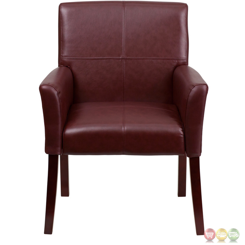 Burgundy Leather Executive Side Chair Or Reception Chair