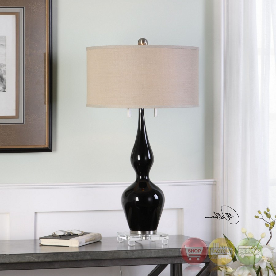 Burilda Black Glass Table Lamp With Curvy Body And Round