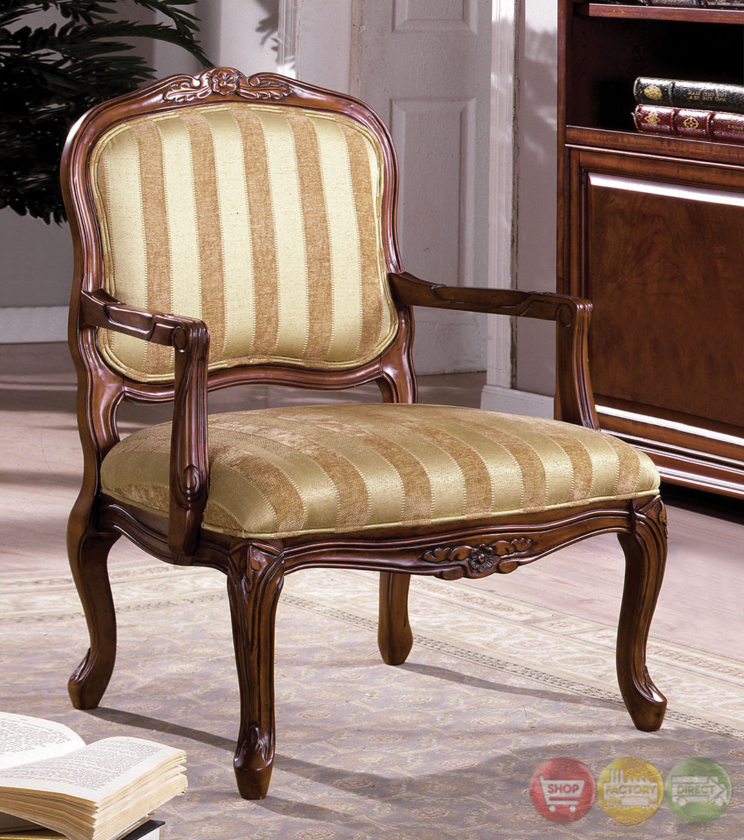 Antique Wooden Carved Chair ~ Burnaby antique oak accent chair with hand carved wood