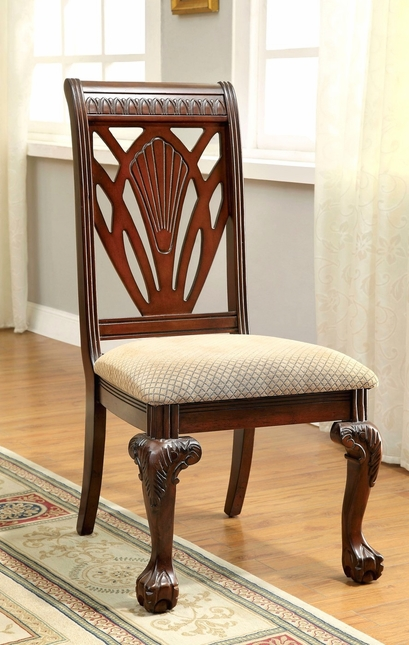 Set Of 2 Burrowsville Traditional Beige Fabric Side Chair In Cherry Finish