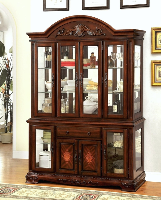 Burrowsville Traditional China Cabinet W/Carved Details In Cherry Finish