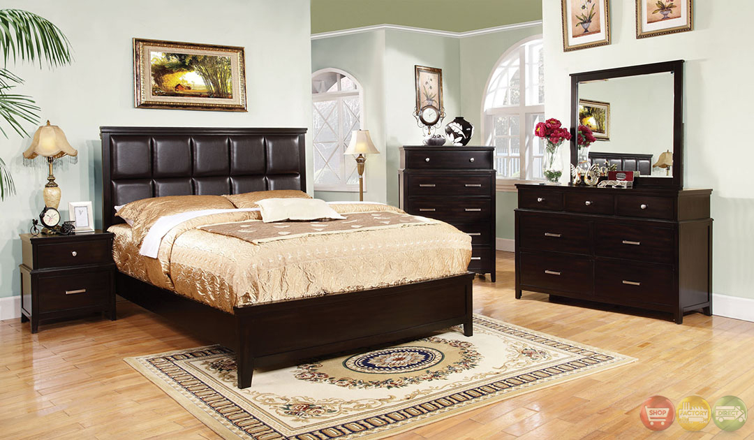 Butler contemporary espresso bedroom set with leatherette for Espresso bedroom furniture