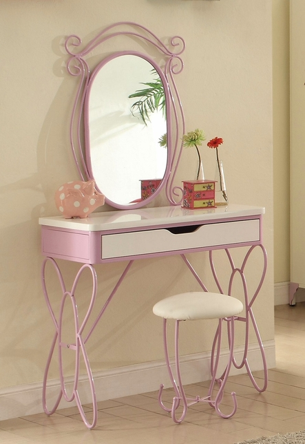 Butterfly Kids Classic Metal Vanity Set in White & Light Purple Finish