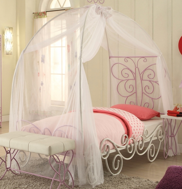Butterfly Princess Carriage Twin Canopy Bed in White & Light Purple