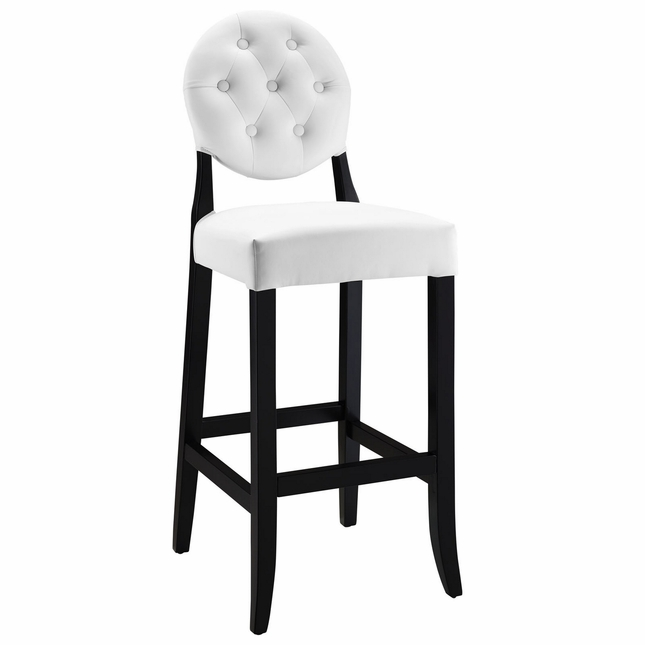 Button Modern Button-tufted Round Back Vinyl Bar Chair, White